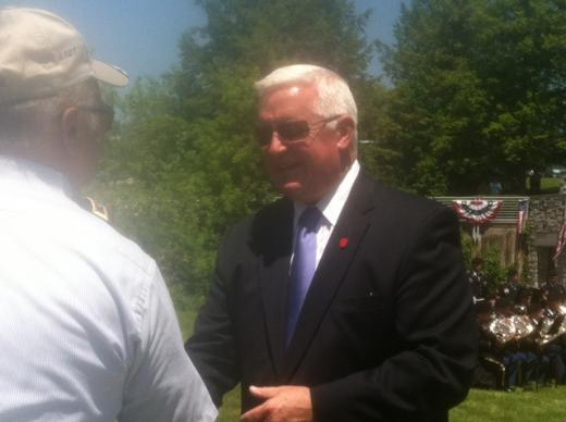 Corbett Declines Questioning on Penn State Issues at Military Service