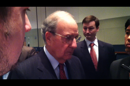 Sen. George Mitchell Addresses Board of Trustees at Morning Seminar