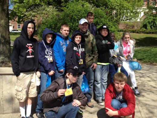 Visitors from Erie were wearing sweat shirts and hoods, thanks to today's cool weather.