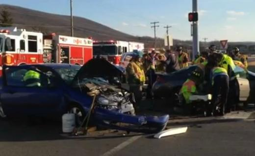 Accident Victims Taken to Hospital After Three Car Wreck