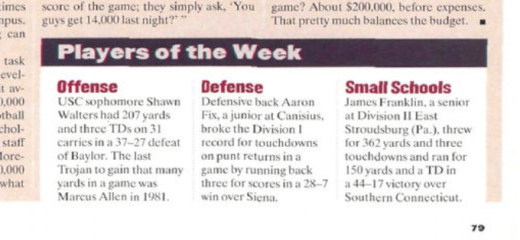 Did You Know? Sports Illustrated Named James Franklin Player Of The Week, In 1994