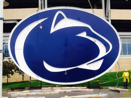 Sneak Peek at Huge Penn State Logo for South Scoreboard at Beaver Stadium
