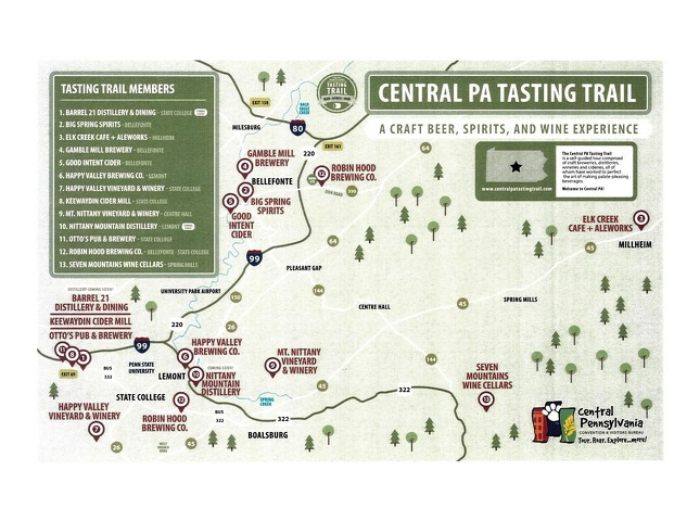 State College Breweries, Wineries & Distilleries Star in New Tasting Trail