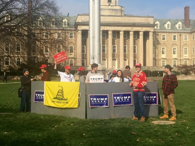 Student Trump Supporters Put Up Wall on Old Main Lawn