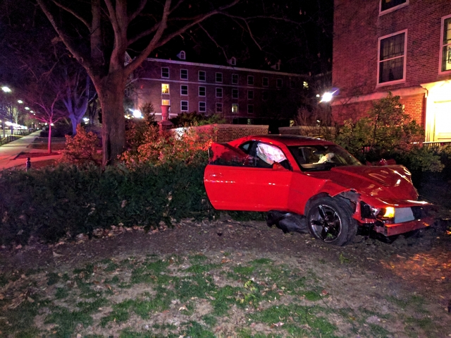 Car Jumps Curb, Nearly Crashes into Penn State Residence Hall