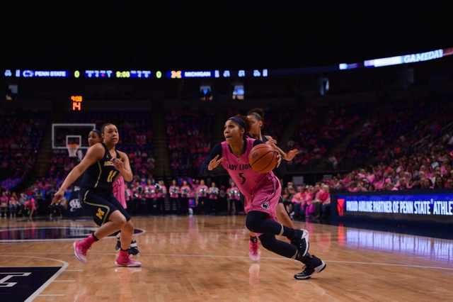 Lady Lions Upset No. 25 Michigan, 76-75, in Pink Zone Game