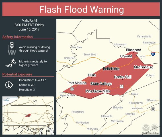 Flash Flood Warning Issued for State College Area
