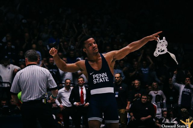 Penn State wrestling's Mark Hall celebrates a victory
