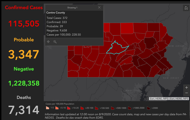 2 New COVID-19 Cases Reported in Centre County