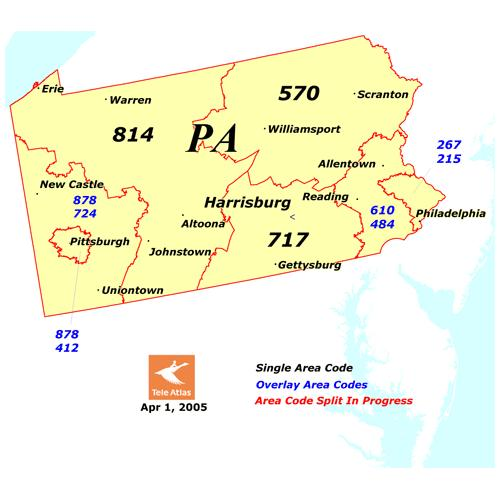 State College PA New Area Code Planned For Part Of Region - 570 area code