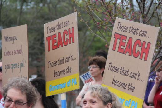 Bellefonte Rally Unites Supporters for Public Schools; Corbett Plan Decried