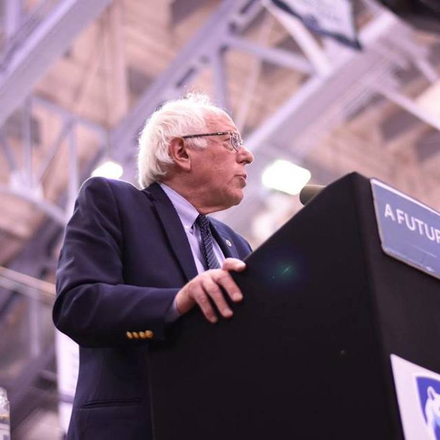 Bernie Sanders speaks at Rec Hall