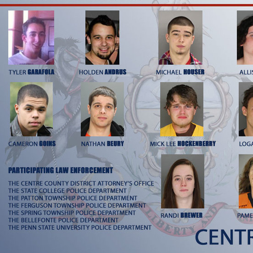 Investigation Nets 17 on Drug Charges in Centre County