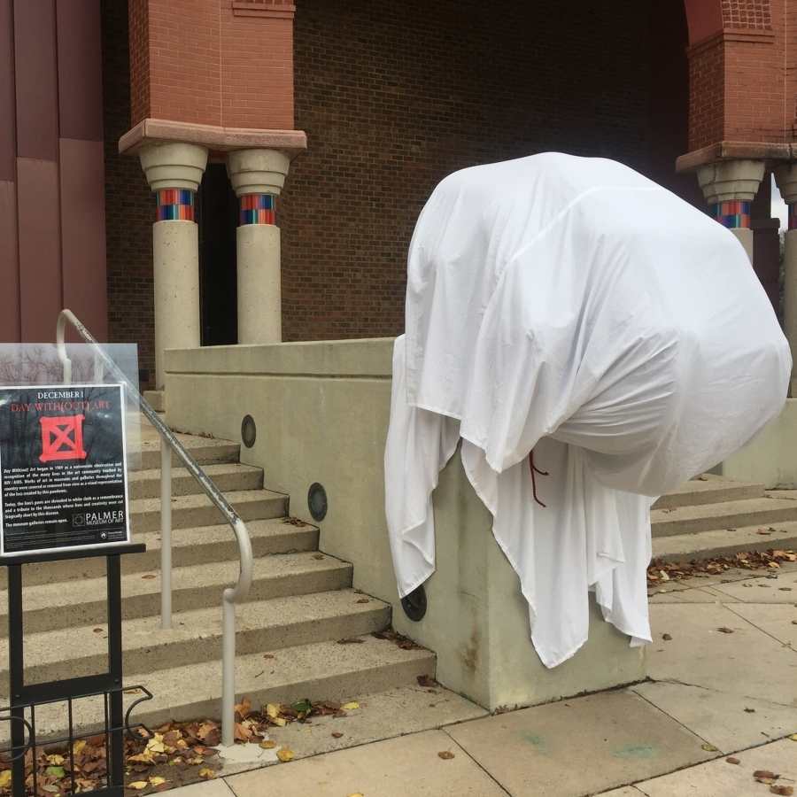 Palmer Museum Covers Bronze Paws in Observance of World AIDS Day