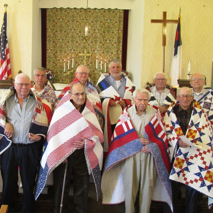 St. John's Union Church veterans presented Quilts of Valor