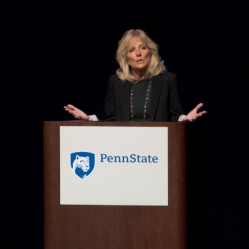 Jill Biden Shares Experiences, Seeks to Motivate in Speech at Penn State