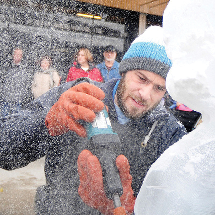 The Ice Man: Jared McAlister creates elaborate ice sculptures for First Night State College