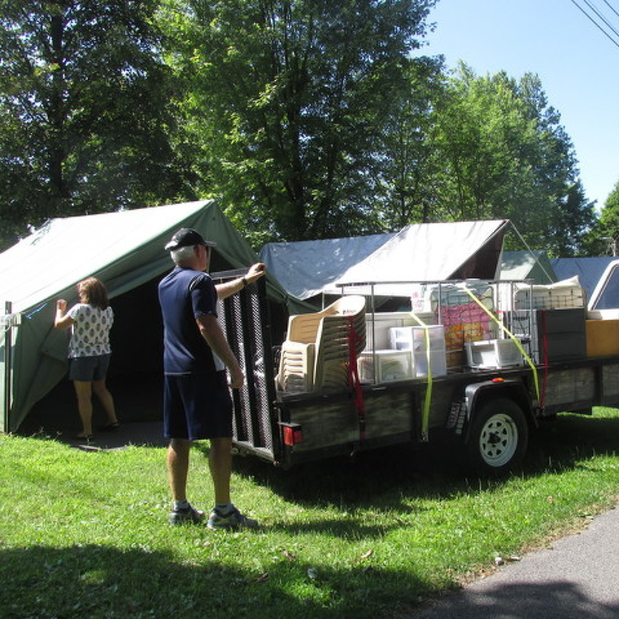 Tenters Prepare for Camping at Grange Fair