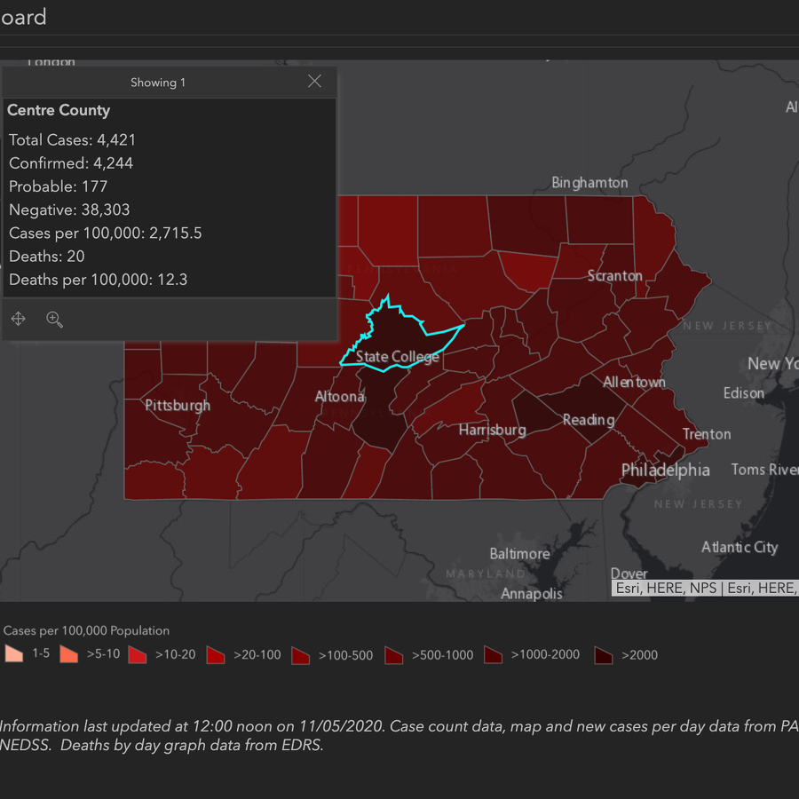 Centre County Adds 55 COVID-19 Cases; Pennsylvania Sets Single-Day High