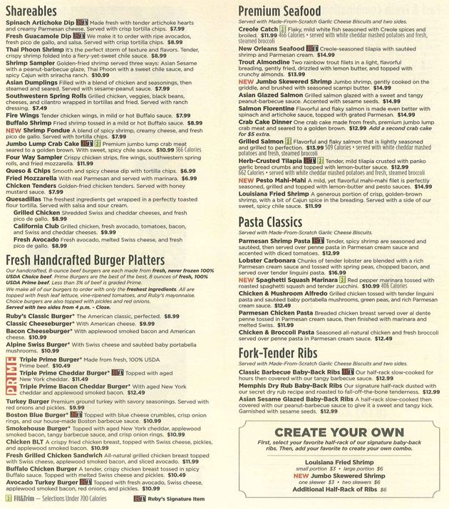 photograph relating to Ruby Tuesday Printable Menu titled Ruby Tuesday - Nation Faculty, PA 16801