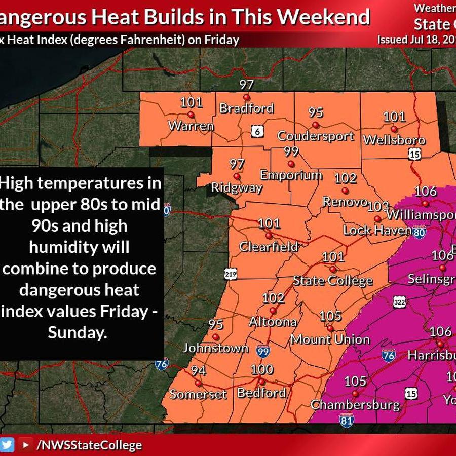 Oppressive Heat to Grip Centre County This Weekend