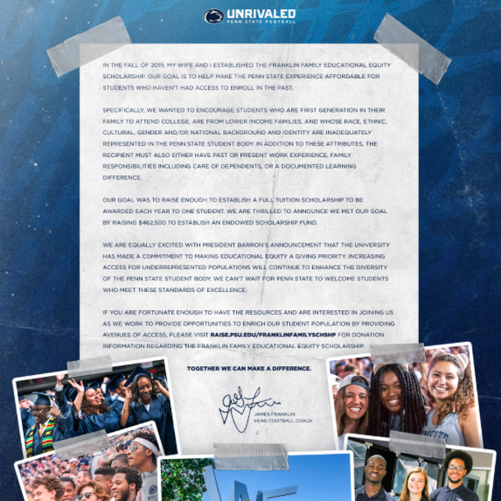 Penn State Football: James Franklin Announces Scholarship Fund For Low Income Minority Students