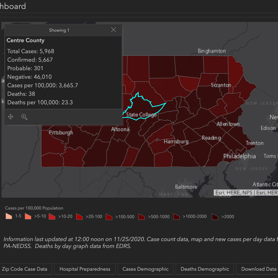 Centre County Adds 93 COVID-19 Cases; Pennsylvania Reports 6,759 New Positives